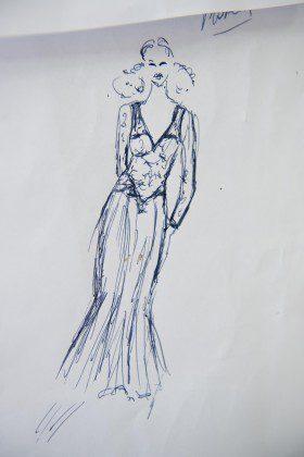 Odręczny rysunek sukni w Atelier Kamy Ostaszewskiej