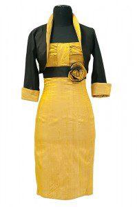 Krótka sukienka koktajlowa na ramiączkach w kolorze złotym z czarnym pasem i dwukolorową różą.