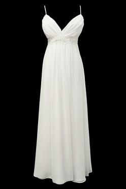 Długa suknia ślubna greczynka na ramiączkach z dekoltem portfelowym w szpic, odcinana pod biustem, zdobiona w pasie koronkami.