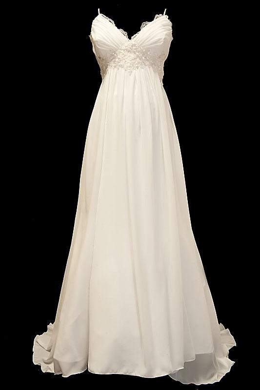 Suknia ślubna dla kobiet w ciąży w stylu greckim z dekoltem w szpic, gołymi plecami i upinanym trenem.