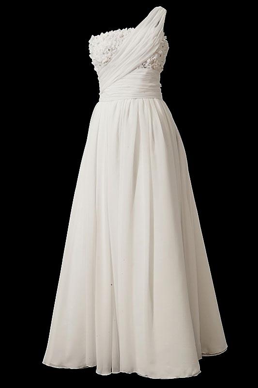 Długa i zwiewna suknia ślubna w literę A a'la greczynka z gorsetem na jedno ramię i halką.
