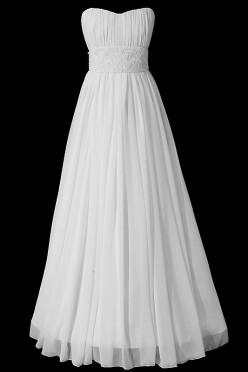Długa suknia ślubna typu greczynka z marszczeniami, dekoltem w serduszko i szerokim pasem zdobionym kamieniami Swarovskiego.