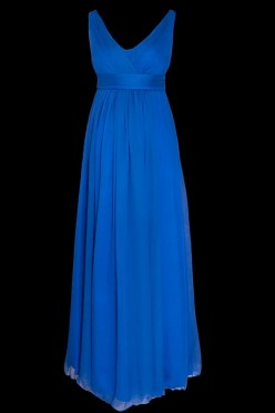 Długa suknia wieczorowa ciążowa dla kobiet w ciąży, w kolorze granatowym, na ramiączkach z dekoltem w literę V i pasem pod biustem.