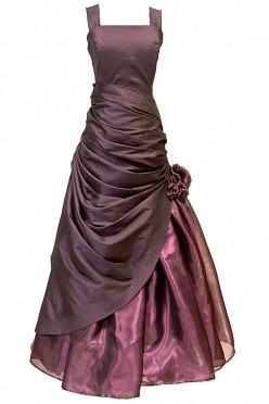 Marszczona długa suknia wieczorowa z motywem róży.