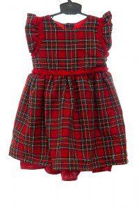 Sukienka w szkocką kratę z tasiemką w pasie z różyczek.