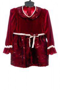 Sukienka dla dziewczynki w kolorze wina z tafty haftowanej i cekinami.