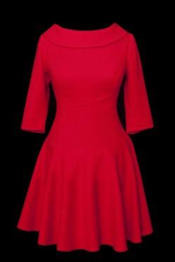 Krótka czerwona sukienka z kołnierzem na stójce i guzikami