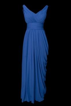 Niebieska suknia wieczorowa z efektem wody na plecach i dekoltem w szpic.