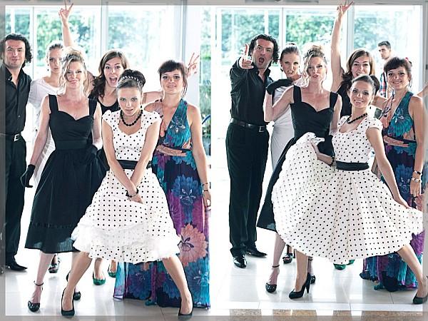 (fot. M. Relich) Pamiątkowe zdjęcie z planu teledysku Trudne Tango. Krystian Adam Krzeszowiak, Natalia Rubiś-Krzeszowiak, Małgorzata Siemińska, Kinga Wojciechowska, Justyna Reczeniedi, Kama Ostaszewska