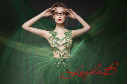 Zielona suknia baletnica z koronkami na siatce