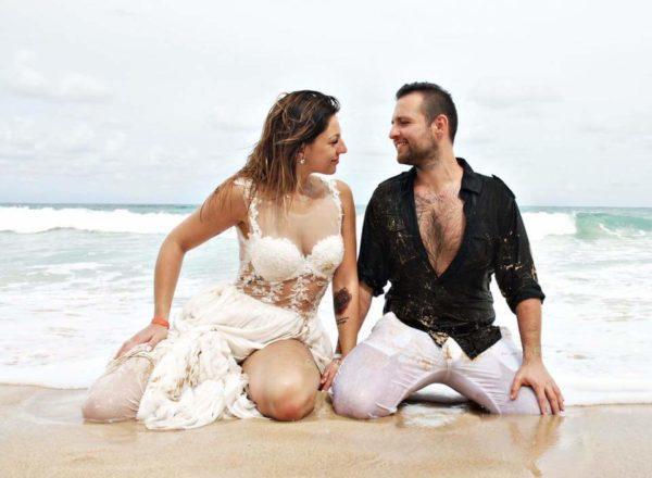 Oksana w sexi sukni ślubnej na Dominikanie