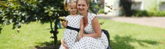 Sukienka w grochy dla mamy i córki