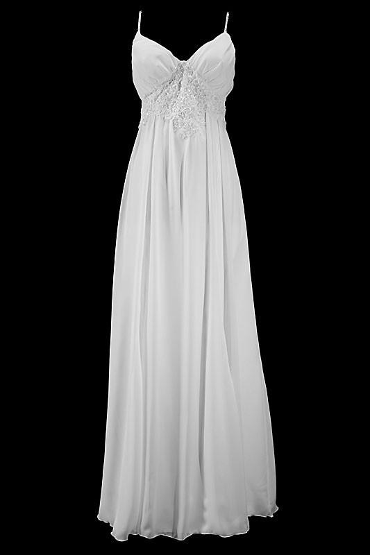 Seksowna długa suknia ślubna typu greczynka na ramiączkach, z dekoltem w literę V i koronkowymi plecami zapinanymi na zamek