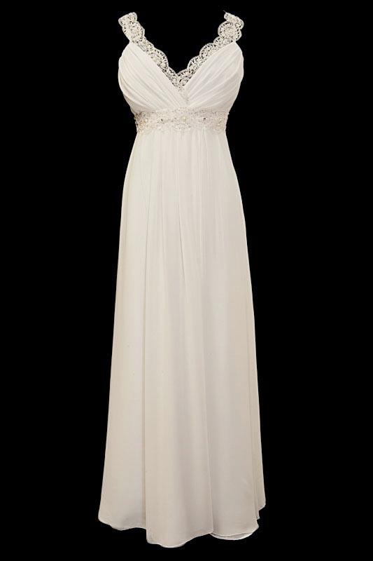 Długa suknia ślubna typu greczynka z marszczonym portfelowym dekoltem w szpic, obszytym koronkami. Pas zdobiony ręcznie naszywanymi haftami.