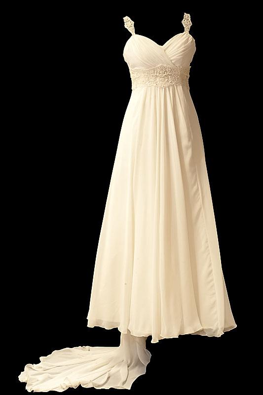 Długa suknia ślubna o kroju w literę A z dekoltem portfelowym w szpic. Sukienka na gorsecie z zakrytymi plecami i podpinanym trenem.