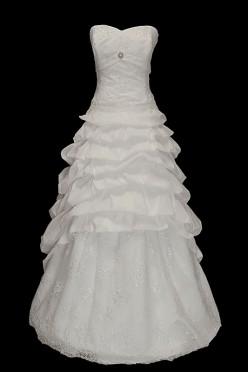 Oryginalna długa suknia ślubna z marszczonym dołem z odpinanym trenem. Sukienka z koronkowym gorsetem zdobionym kamieniami.