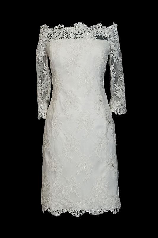 0cf96e4fe5 Krótka koronkowa sukienka do ślubu z rękawkami w stylu retro. Suknia z  dekoltem w łódkę