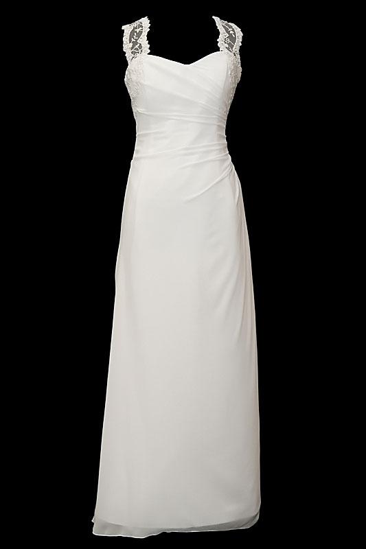 Długa suknia ślubna na koronkowych ramiączkach. Sukienka na gorsecie z koronkowymi plecami i romantycznymi guziczkami oraz długim upinanym trenem.
