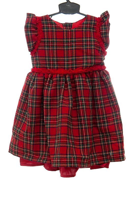 6b52e5505a Sukienka w szkocką kratę z tasiemką w pasie z różyczek.