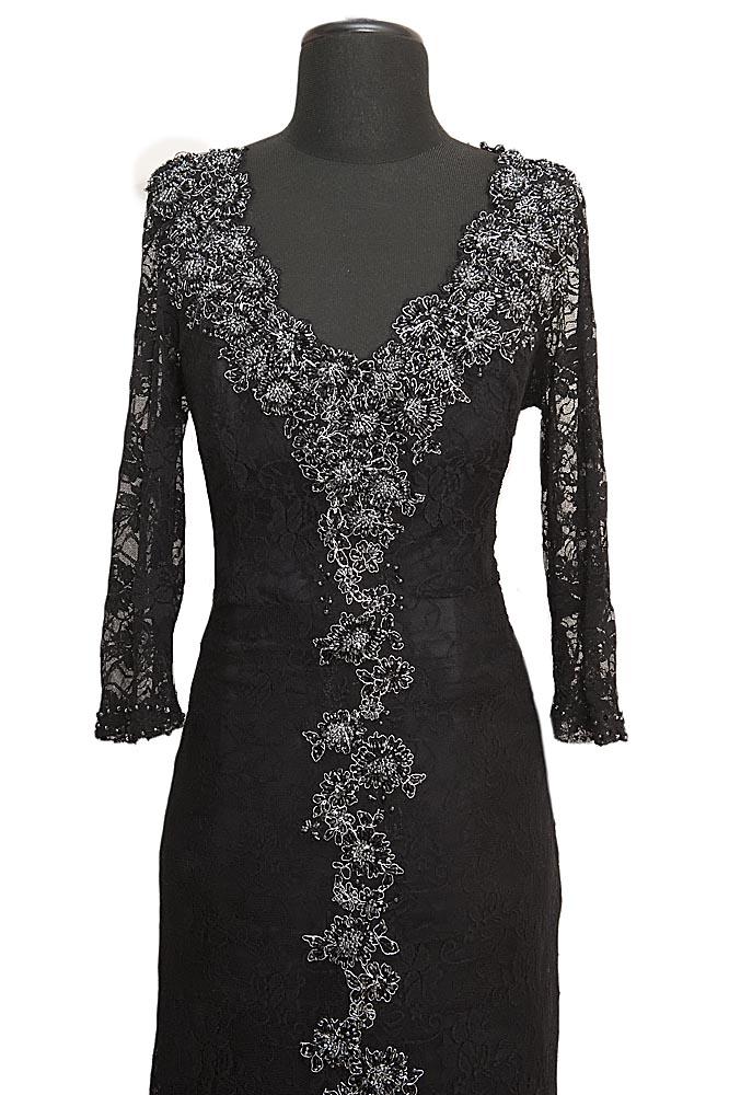 Czarna koronkowa suknia wieczorowa Ines